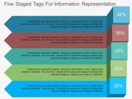 Five Staged Tags For Information Representation Flat Powerpoint Desgin