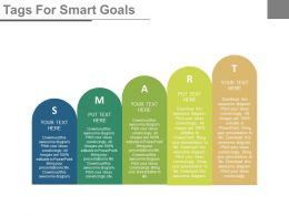 Five Staged Tags For Smart Goals Flat Powerpoint Design