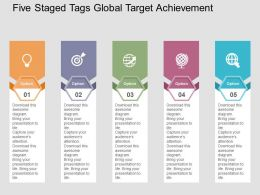 five_staged_tags_global_target_achievement_flat_powerpoint_design_Slide01