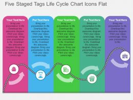 Five Staged Tags Life Cycle Chart Icons Flat Powerpoint Design