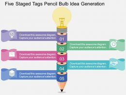 Five Staged Tags Pencil Bulb Idea Generation Flat Powerpoint Design