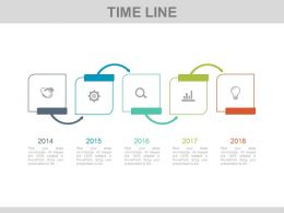 Five Staged Tags Style Timeline And Icons Powerpoint Slides