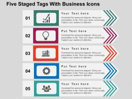 Five Staged Tags With Business Icons Flat Powerpoint Design