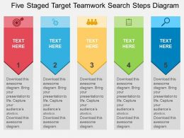 Five Staged Target Teamwork Search Steps Diagram Flat Powerpoint Design