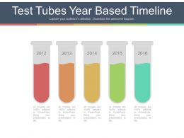 Five Staged Test Tubes Year Based Timeline Powerpoint Slides
