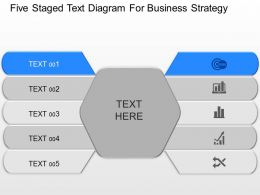 Five Staged Text Diagram For Business Strategy Powerpoint Template Slide