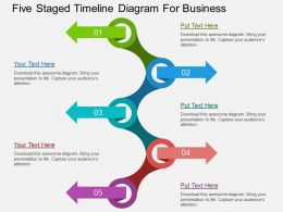 Five Staged Timeline Diagram For Business Flat Powerpoint Desgin
