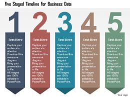 Five Staged Timeline For Business Data Flat Powerpoint Design