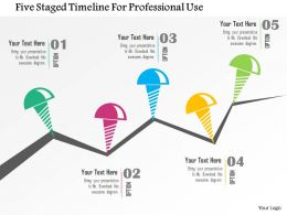Five Staged Timeline For Professional Use Flat Powerpoint Design