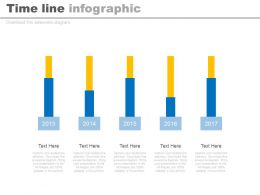 Five Staged Timeline Infographics With Years Powerpoint Slides
