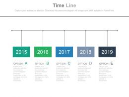 Five Staged Timeline With Years Powerpoint Slides