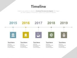 Five Staged Timeline Year Based Analysis Powerpoint Slides