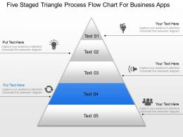 Five Staged Triangle Process Flow Chart For Business Apps Ppt Template Slide