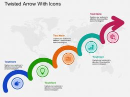 Five Staged Twisted Arrow With Icons Ppt Presentation Slides