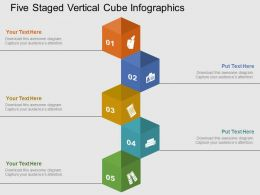 Five Staged Vertical Cube Infographics Flat Powerpoint Design