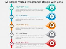 Five Staged Vertical Infographics Design With Icons Flat Powerpoint Design