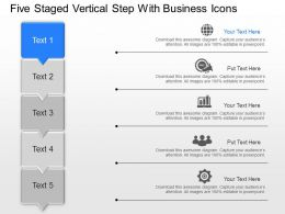 Five Staged Vertical Step With Business Icons Powerpoint Template Slide