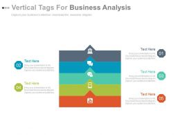 Five Staged Vertical Tags For Business Analysis Flat Powerpoint Design