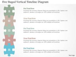 Five Staged Vertical Timeline Diagram Flat Powerpoint Design
