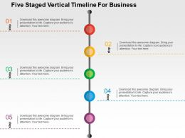 Five Staged Vertical Timeline For Business Flat Powerpoint Design