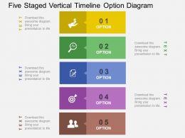 Five Staged Vertical Timeline Option Diagram Flat Powerpoint Design