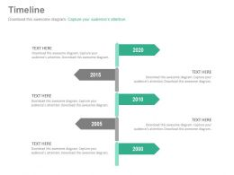 Five Staged Vertical Year Based Timeline Powerpoint Slides