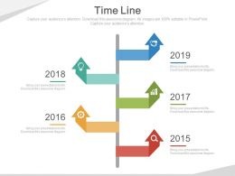 Five Staged Year Based Timeline Diagram Powerpoint Slides