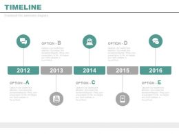Five Staged Year Based Timeline for Business Powerpoint Slides