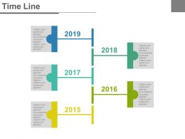 Five Staged Year Tags Timeline Powerpoint Slides