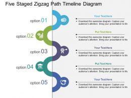 Five Staged Zigzag Path Timeline Diagram Flat Powerpoint Design