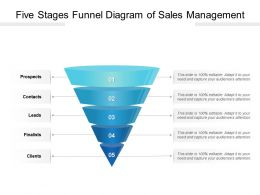 Five Stages Funnel Diagram Of Sales Management