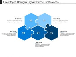 five_stages_hexagon_jigsaw_puzzle_for_business_presentation_Slide01