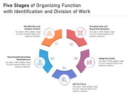 Five Stages Of Organizing Function With Identification And Division Of Work