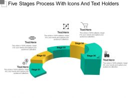 Five Stages Process With Icons And Text Holders
