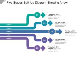 Five Stages Split Up Diagram Showing Arrow