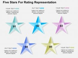 Five Stars For Rating Representation Flat Powerpoint Design