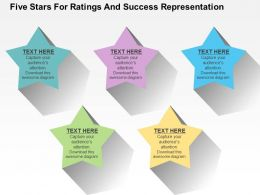Five Stars For Ratings And Success Representation Flat Powerpoint Design