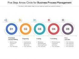 Five Step Arrow Circle For Business Process Management