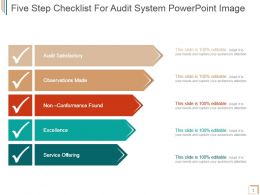 Five Step Checklist For Audit System Powerpoint Image