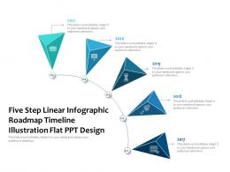 Five Step Linear Infographic Roadmap Illustration Flat Ppt Design Timeline Powerpoint Template