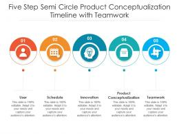 Five Step Semi Circle Product Conceptualization Timeline With Teamwork