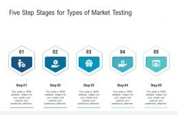 Five Step Stages For Types Of Market Testing Infographic Template