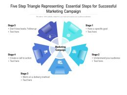 Five Step Triangle Representing Essential Steps For Successful Marketing Campaign