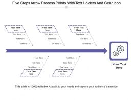 Five Steps Arrow Process Points With Text Holders And Gear Icon