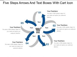 Five Steps Arrows And Text Boxes With Cart Icon