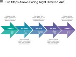 Five Steps Arrows Facing Right Direction And Text Boxes