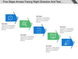 Five Steps Arrows Facing Right Direction And Text Holders