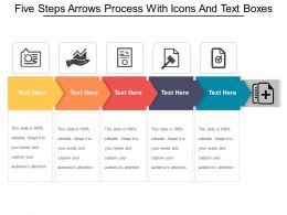 Five Steps Arrows Process With Icons And Text Boxes
