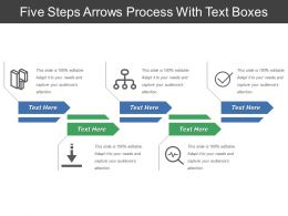Five Steps Arrows Process With Text Boxes
