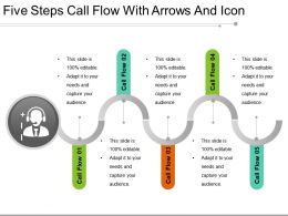 Five Steps Call Flow With Arrows And Icon